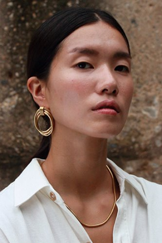 Big pipe earring Gold