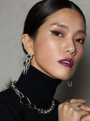 Huge chain drop earring [Silver]
