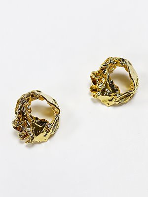 Gold paper post earring