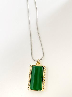 Nostalgia Square Necklace Green