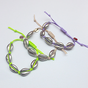 [2019 summer] Cowrieshell color khot bracelet [silver + 3color]