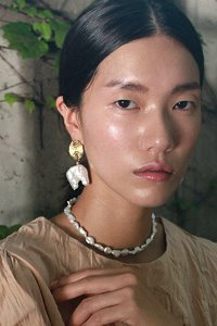 Huge baroque pearl drop earring