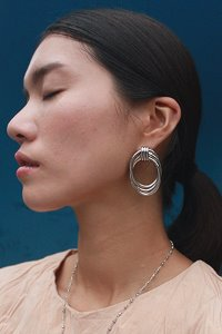 Big pipe earring Silver