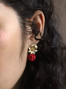 Berry flower earring [Gold]