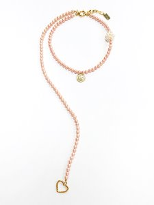 Peach pearl twoway necklace