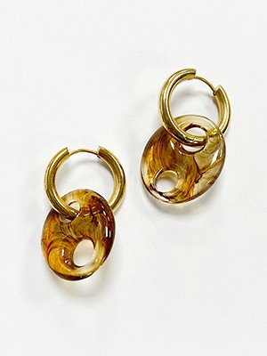 Autumn Pig Hoop Earring Gold