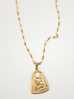 Mother ball chain necklace Gold