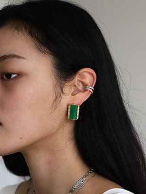 Nostalgia Square Earring Green