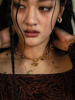 My Lip Linkchain Necklace Gold