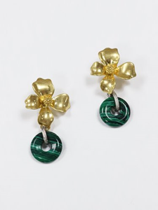 Blooming flower drop earring [Gold]