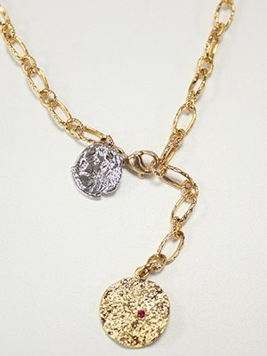 Crinkle pendant necklace [Gold]