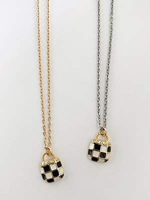 Checkerboard Bag Necklace